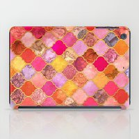 bedding iPad Cases featuring Hot Pink, Gold, Tangerine & Taupe Decorative Moroccan Tile Pattern by micklyn