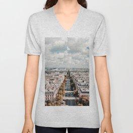 Paris France Cityscape (Color) Unisex V-Neck