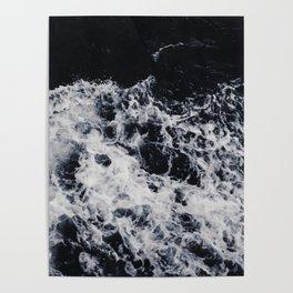 OCEAN - WAVES - SEA - ROCKS - DARK - WATER Poster