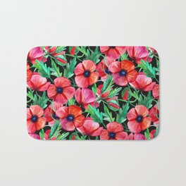 Plenty of Poppies - black Bath Mat