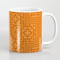 orange pattern Mugs featuring Orange Pattern by White Wolf Wizard