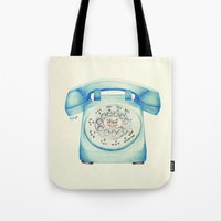 novelty Tote Bags featuring Rotary Telephone - Ballpoint by One Curious Chip