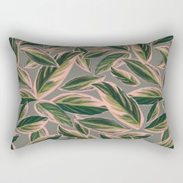 Calathea Leaves Pattern- Pink Green Gray Rectangular Pillow