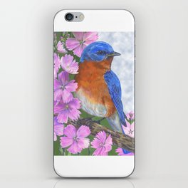 Bluebird and Pink Flowers iPhone Skin