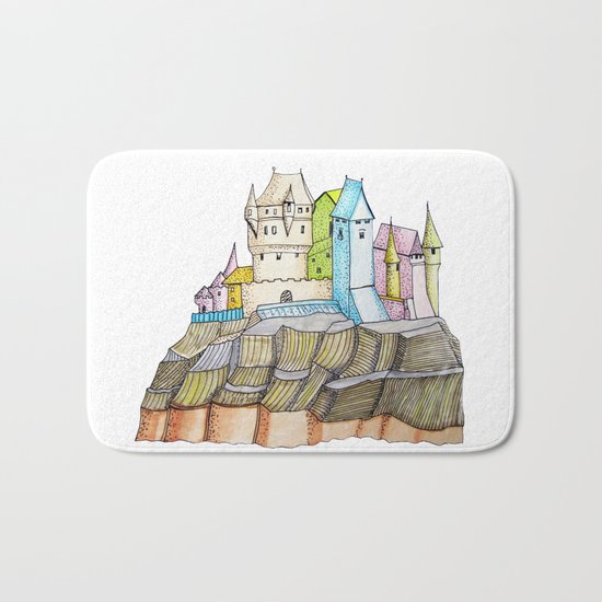 fairytale castle on a cliff Bath Mat