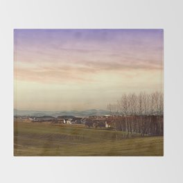 Beautiful panorama under a cloudy sky | landscape photography Throw Blanket