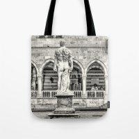 hercules Tote Bags featuring Hercules' back by Roberto Pagani