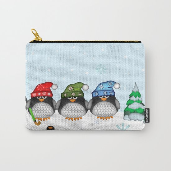 Cute Hockey Penguins in Snowy Winter landscape Carry-All Pouch