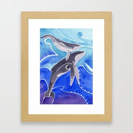 Polynesian humpback whale and calf Framed Art Print