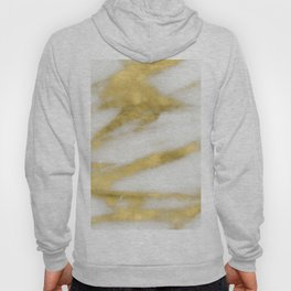 Marble - Gold Marble on White Pattern Hoody