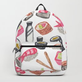 Cute Trendy Watercolor Sushi Sake and Chopsticks Backpack