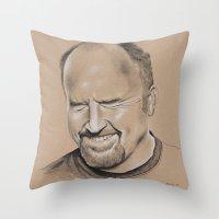 louis ck Throw Pillows featuring Louis CK by Jolene Rose Russell