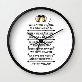 Alcohol sin hangover beer drinking toast gifts Wall Clock