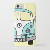 vw bus iPhone & iPod Cases featuring VW Bus Blue by Cheryl Syminink