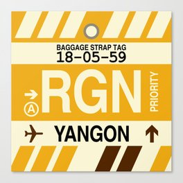 RGN Yangon • Airport Code and Vintage Baggage Tag Design Canvas Print