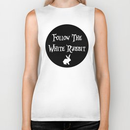 Follow the White Rabbit, circle, black Biker Tank