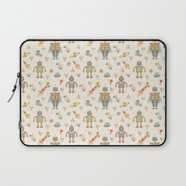 Vintage Inspired Robots in Space Laptop Sleeve