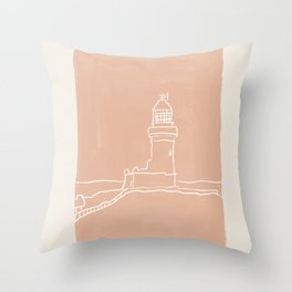 Byron Bay Lighthouse | Simple Line Art Drawing | East Coast, Australia  Throw Pillow