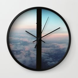 Aerial photo of Boston area - Sunset sky Wall Clock