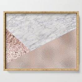 Expensive pink - rose gold marble Serving Tray