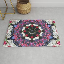 Orchids And Stone Wall Kaleidoscope 1763 Rug