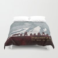 tolkien Duvet Covers featuring The fellowship of the ring by WatercolorGirlArt