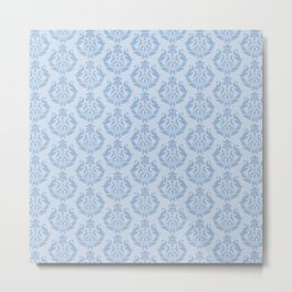 Cerulean Blue Damask Metal Print