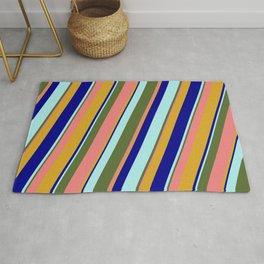 Colorful Dark Olive Green, Light Coral, Goldenrod, Dark Blue, and Turquoise Colored Lined Pattern Rug