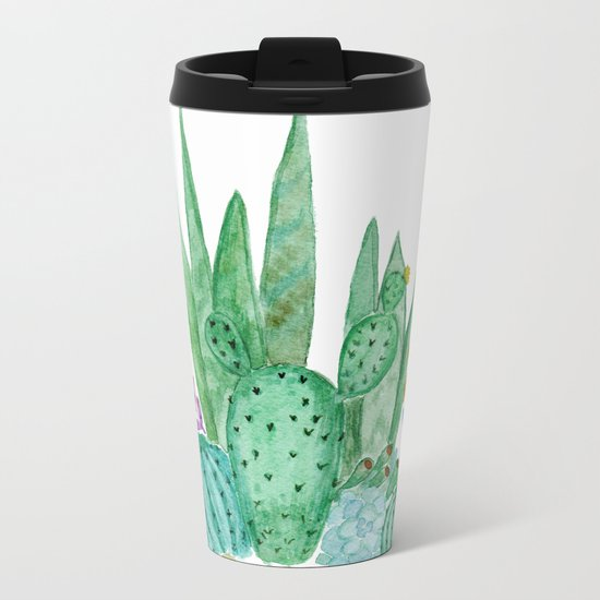 Cacti and succulents . Watercolor . Metal Travel Mug
