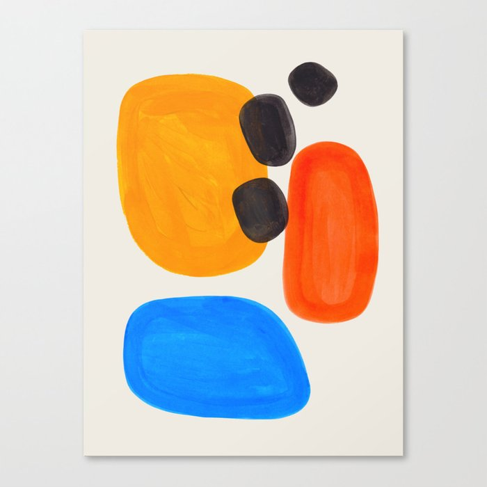 Minimalist Modern Mid Century Colorful Abstract Shapes Primary Colors Yellow Orange Blue Bubbles Leinwanddruck