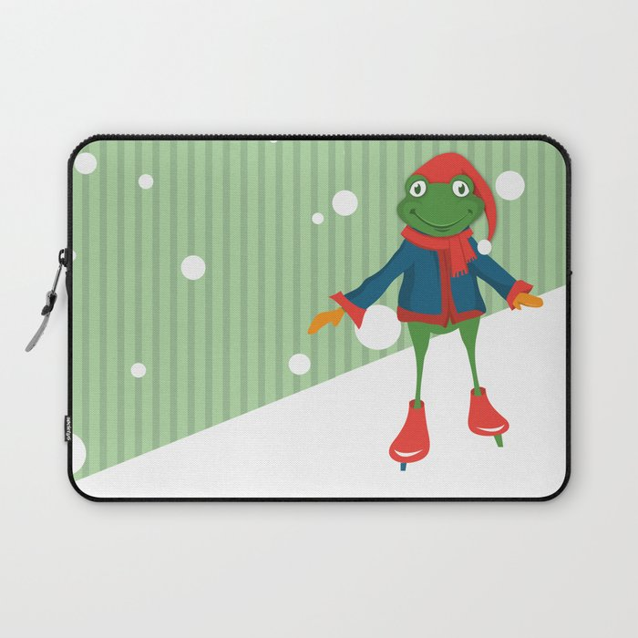 Ice Skating Frog Laptop Sleeve