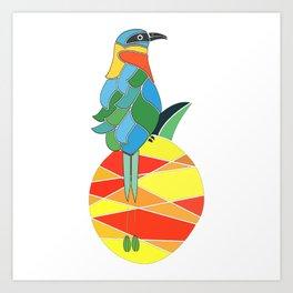 Bobo bird on a pineapple Art Print