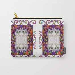 CAT DAMASK ARABESQUE WHITE Carry-All Pouch