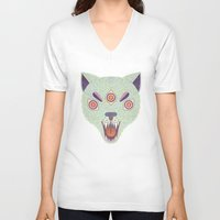 cosmic V-neck T-shirts featuring Cosmic Cat by LordofMasks