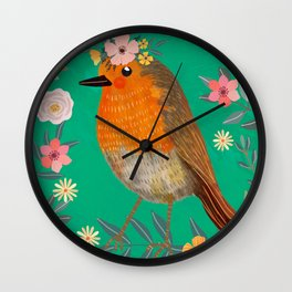 Robin Bird with flowers Wall Clock