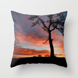 Beautiful Oak Tree In Colorful Southwestern Red, Yellow and Blue Sunrise Throw Pillow