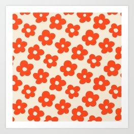 Retro 60s 70s Flower Pattern #pattern #vintage #poppy Art Print