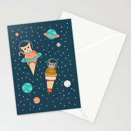Cats Floating on Ice Cream in Space Stationery Cards