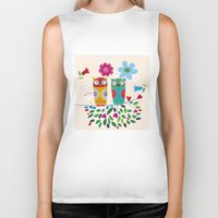 owls Biker Tanks featuring owls by Marianna Jagoda