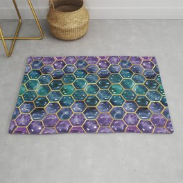 Gold Galaxy Hexagons Rug