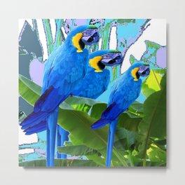 BLUE SURREAL BLUE MACAWS JUNGLE GRAPHIC Metal Print