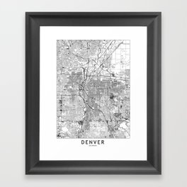 Denver White Map Framed Art Print