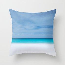 Tropical paradise beach turquoise sea ocean nature travel hipster Caribbean Fiji horizon photograph Throw Pillow