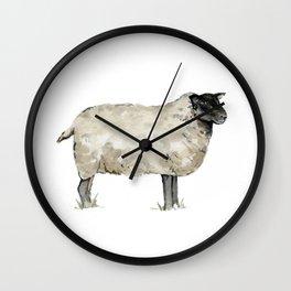 Sheep, Farmhouse Watercolor, Rustic Painting Wall Clock