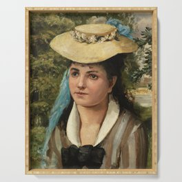 Lise in a Straw Hat (Jeune fille au chapeau de paille) (1866) by Pierre-Auguste Renoir Serving Tray