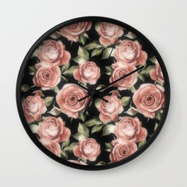 Classic Pink Roses On Black Wall Clock