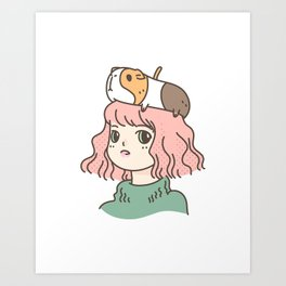 Guinea Pig Lady Art Print