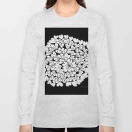 Hearts and Flowers Zentangle black and white illustration Long Sleeve T-shirt