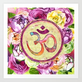 Golden OM symbol on Pastel Watercolor pattern Art Print