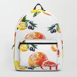 Lemon, Orange, Tangerine, Blood Orange in Watercolor Backpack